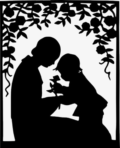 Mother clipart silhouette. And child clip art