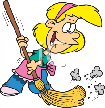 Little girl helping around. Mother clipart sweeping svg black and white download