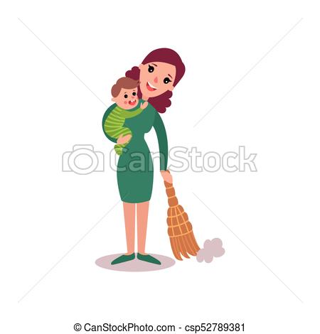Mother clipart sweeping. The floor with baby vector free stock