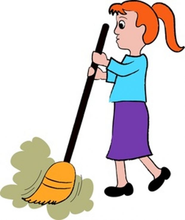 Mother clipart sweeping. Cartoon the floor funny clip royalty free library