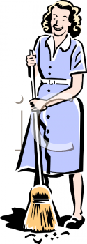 Mother clipart sweeping. Retro maid royalty free jpg royalty free library