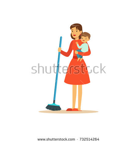 Super mom sweep floor. Mother clipart sweeping banner transparent stock