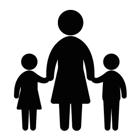 Mother vector child abstract. And silhouette images at