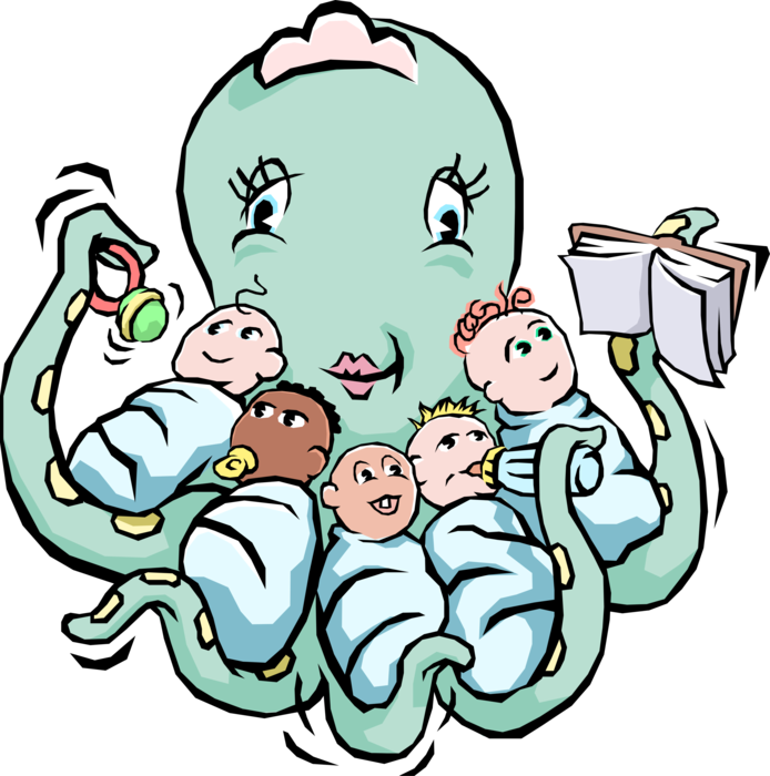 Mother vector multitasking. Octopus nurse image illustration