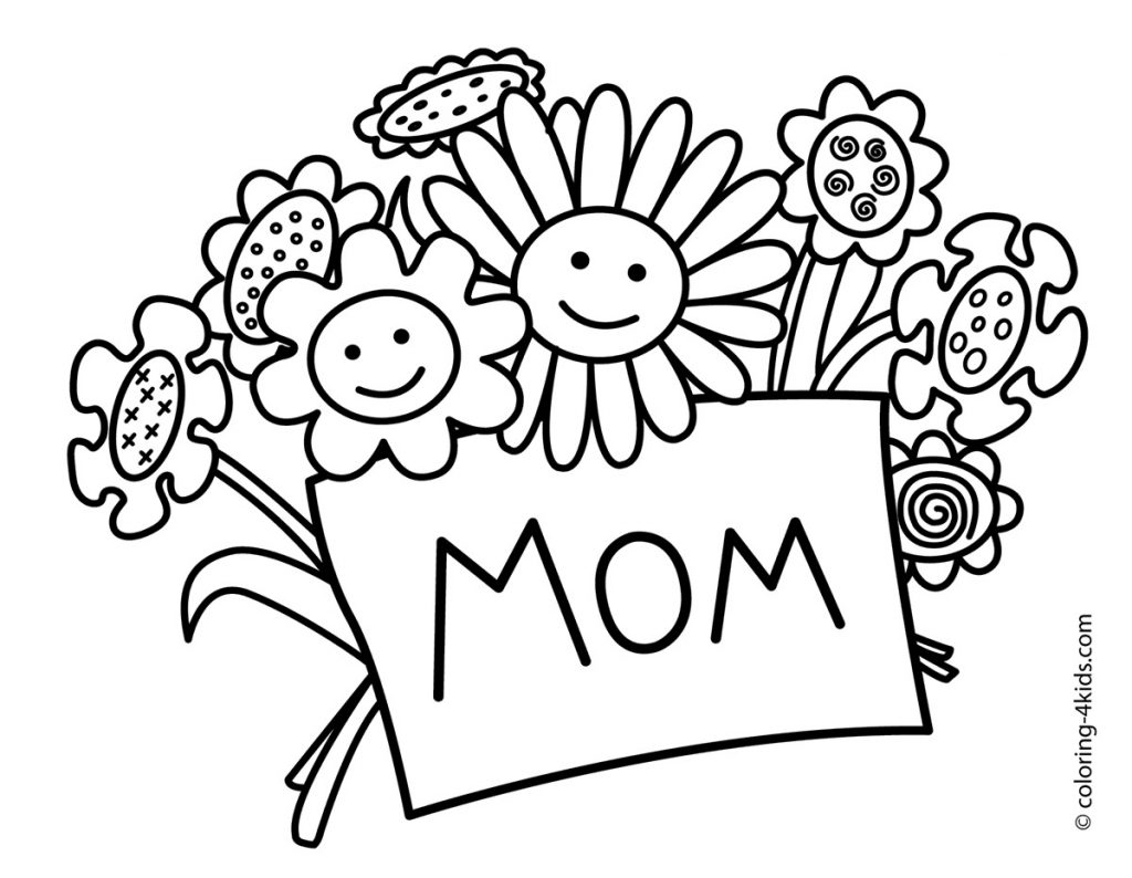 Mothers clipart coloring. Day images black and