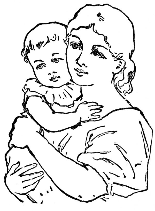 Mothers clipart line art. Mother clip panda free
