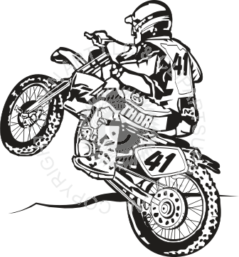 Motocross drawing. Bike from behind