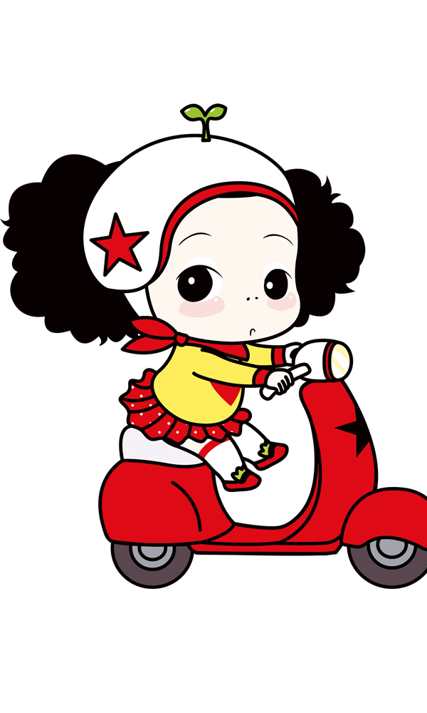 Motorcycle cartoon png. Cute female image download
