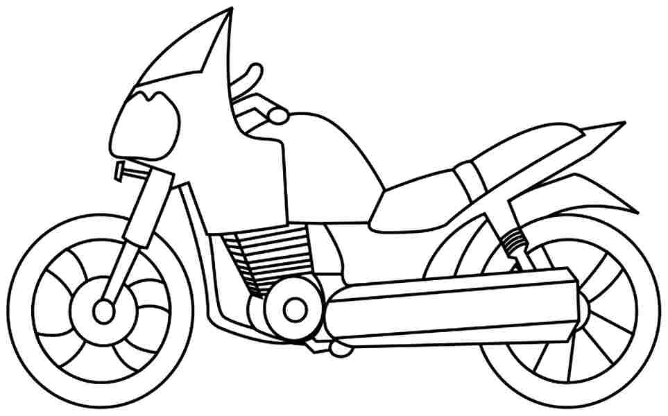 Motorcycle clipart colour. Drawn colouring page pencil