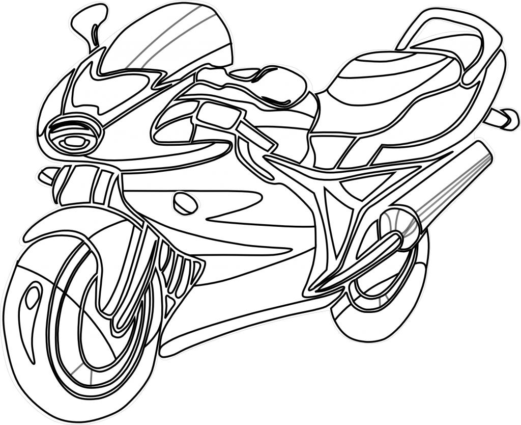 Motorcycle clipart colour. Motorbike colouring pictures