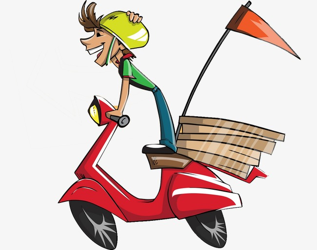 Motorcycle clipart pizza. Delivery staff png image