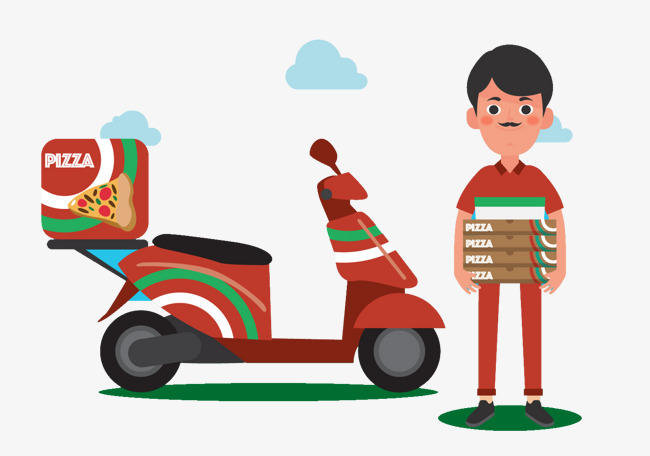 Motorcycle clipart pizza. Ride a courier delivery