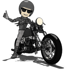 Motorcycle rider png. American black line stickers