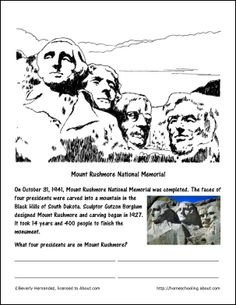 Mount rushmore clipart activity. Lesson plans am so