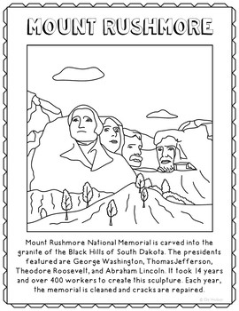 Mount rushmore clipart craft. Informational text coloring page