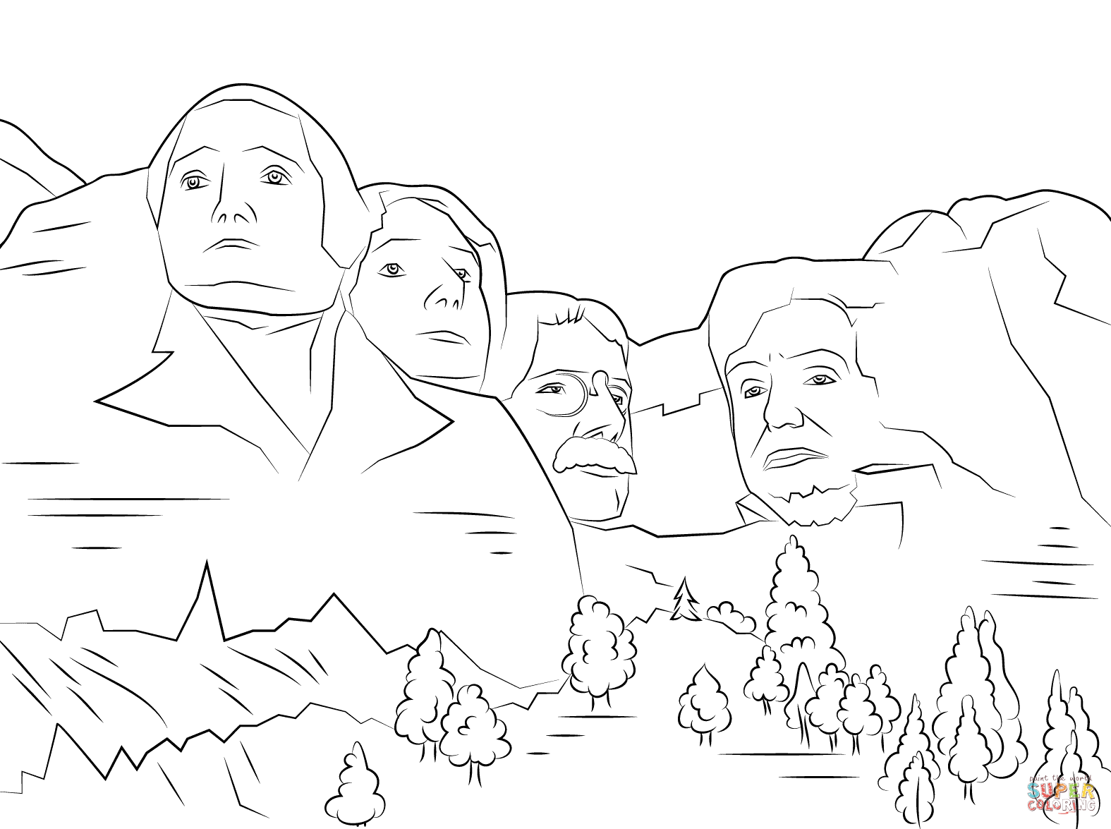 Mount rushmore clipart easy. Coloring page free printable