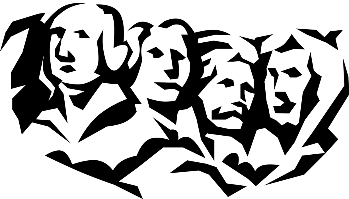 Mount rushmore clipart sculpture. National memorial vector image