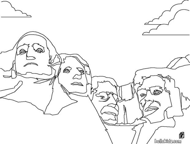 Mount rushmore clipart sheet. Coloring pages hellokids com