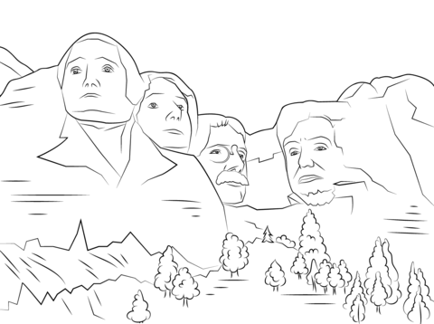 Mount rushmore clipart sheet. Coloring page free printable