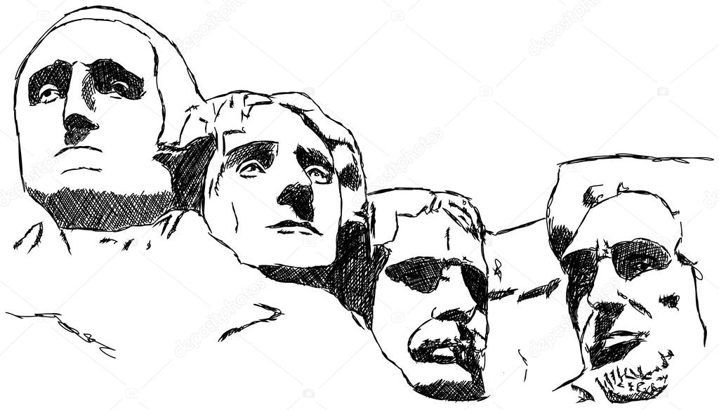 Mount rushmore clipart sketch. Presidents usa stock vector