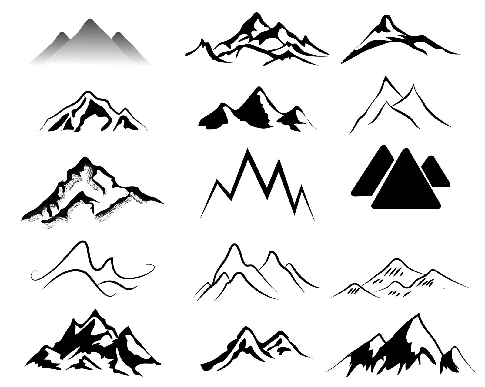 Mountain black and white. Mountains clipart svg black and white