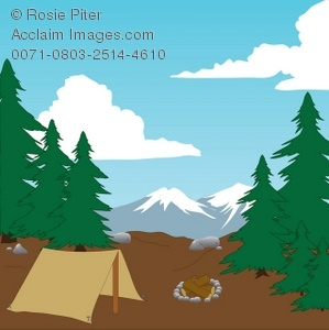 Mountain clipart camping. Illustration of a campsite