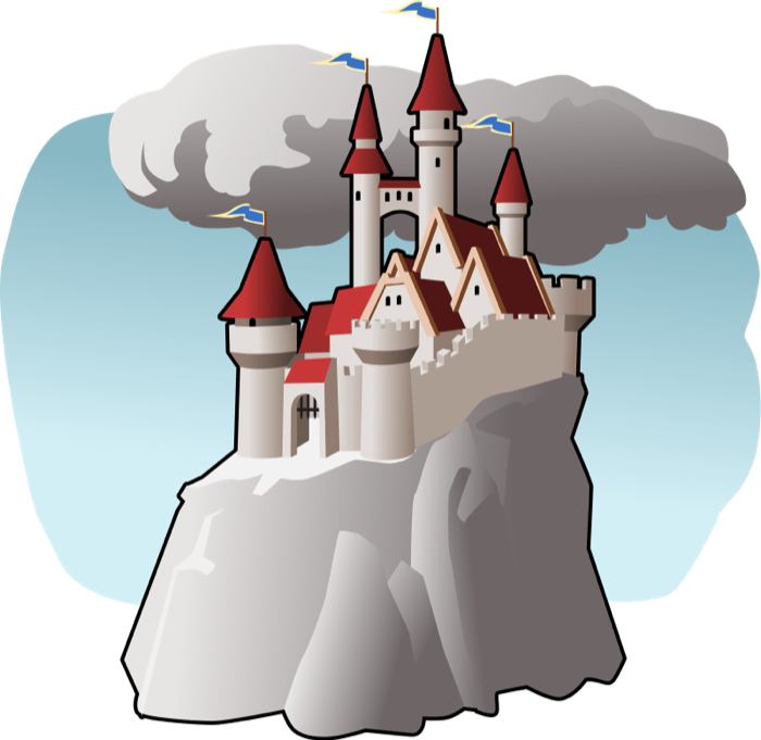 Mountains clipart castle. Free in clouds