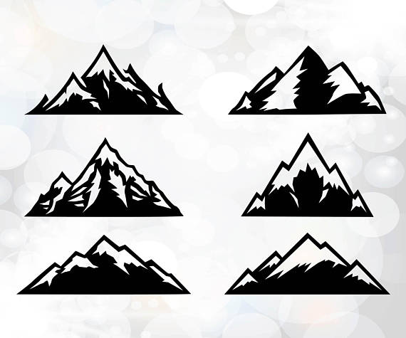 Mountain clipart silhouette. Svg cut files