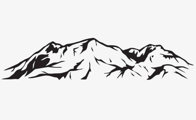 Mountain clipart simple. Hand painted geomorphology stroke