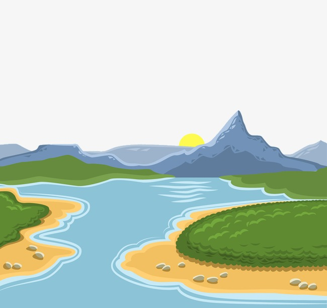 Mountain clipart view. Mountains and rivers river