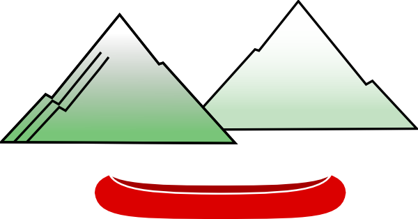 Mountain clipart view. Canoe with mountains clip