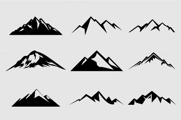 Mountains clipart logo. Mountain shapes for logos