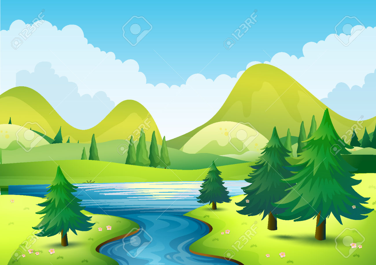 Stream clipart mountain stream. Drawing on nature and