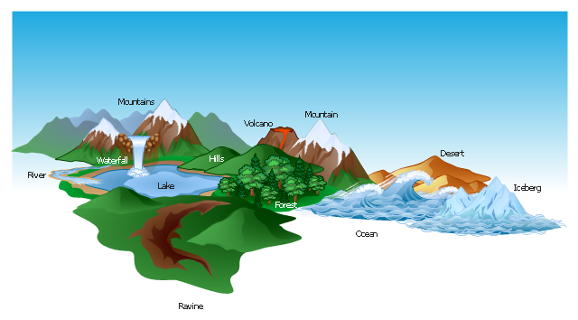 Mountains clipart ocean. Vector illustration waterfall volcano picture royalty free stock