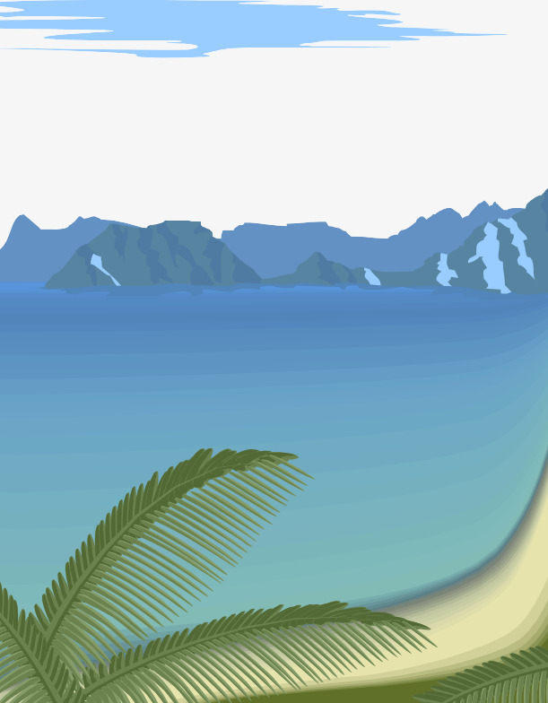 Mountains clipart ocean. Hand painted seawater trees