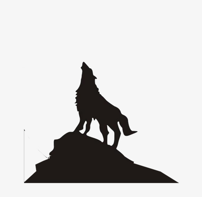 Mountains clipart wolf. Silhouette on the mountain