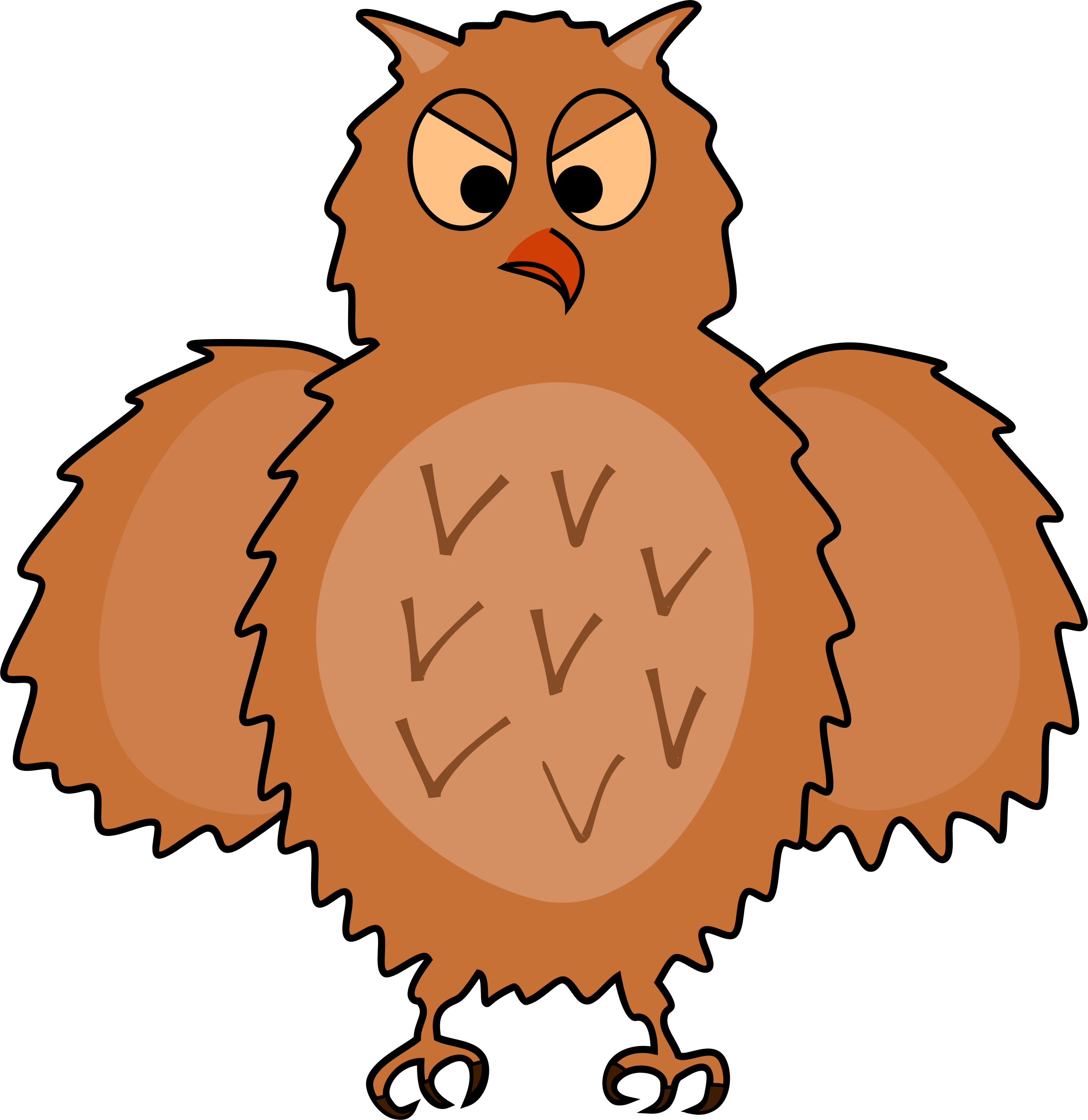 Spread clipart. Enraged owl front view