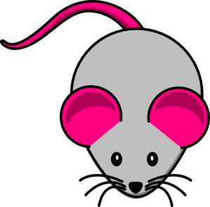 Mouse clip toy. Grey pink art at