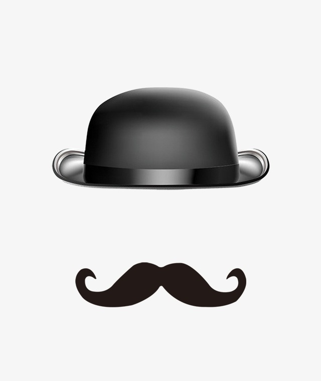 Moustache clipart bowler hat. Creative cartoon beard lovely