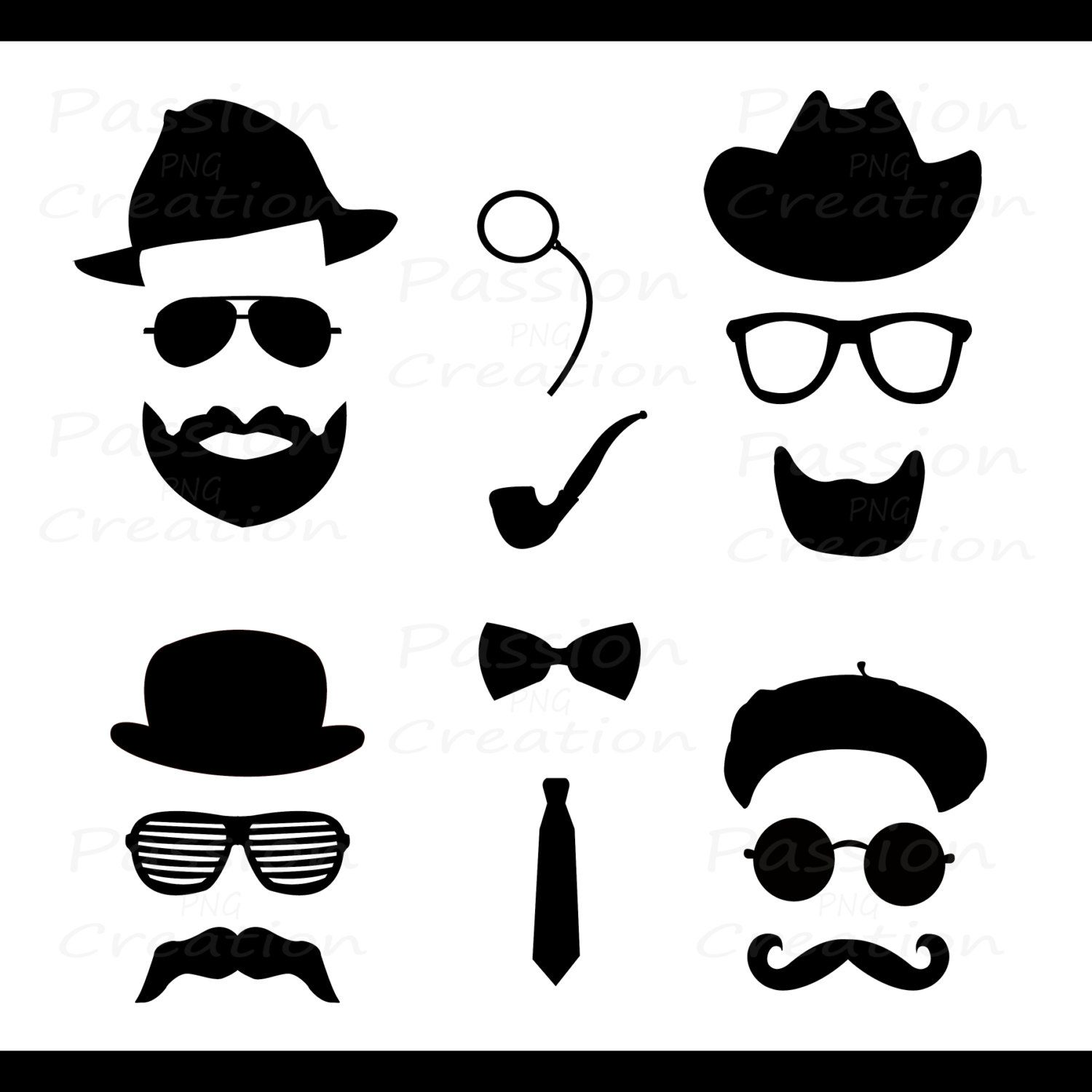 Mustache clipart eyewear. Digital silhouette hat glasses