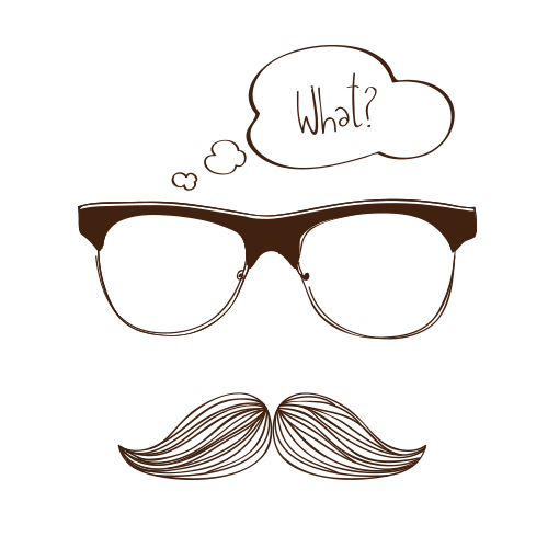 Moustache drawing. Glasses with a mustache