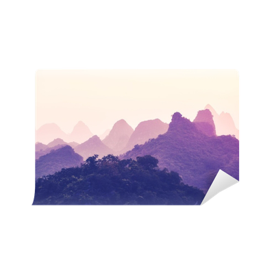 Moutain vector mountain chinese. Scenic sunset over karst