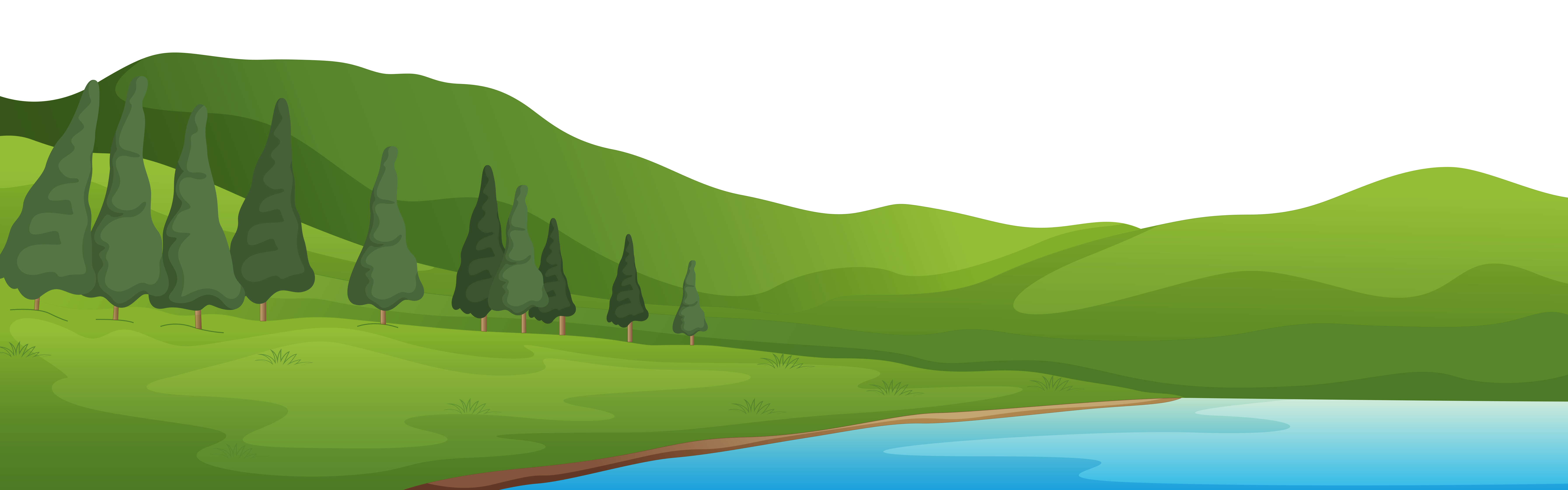 Transparent lake cartoon mountain. Collection of clipart