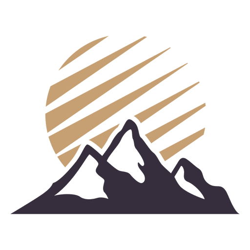 Moutain vector sun mountain. Label badge with transparent