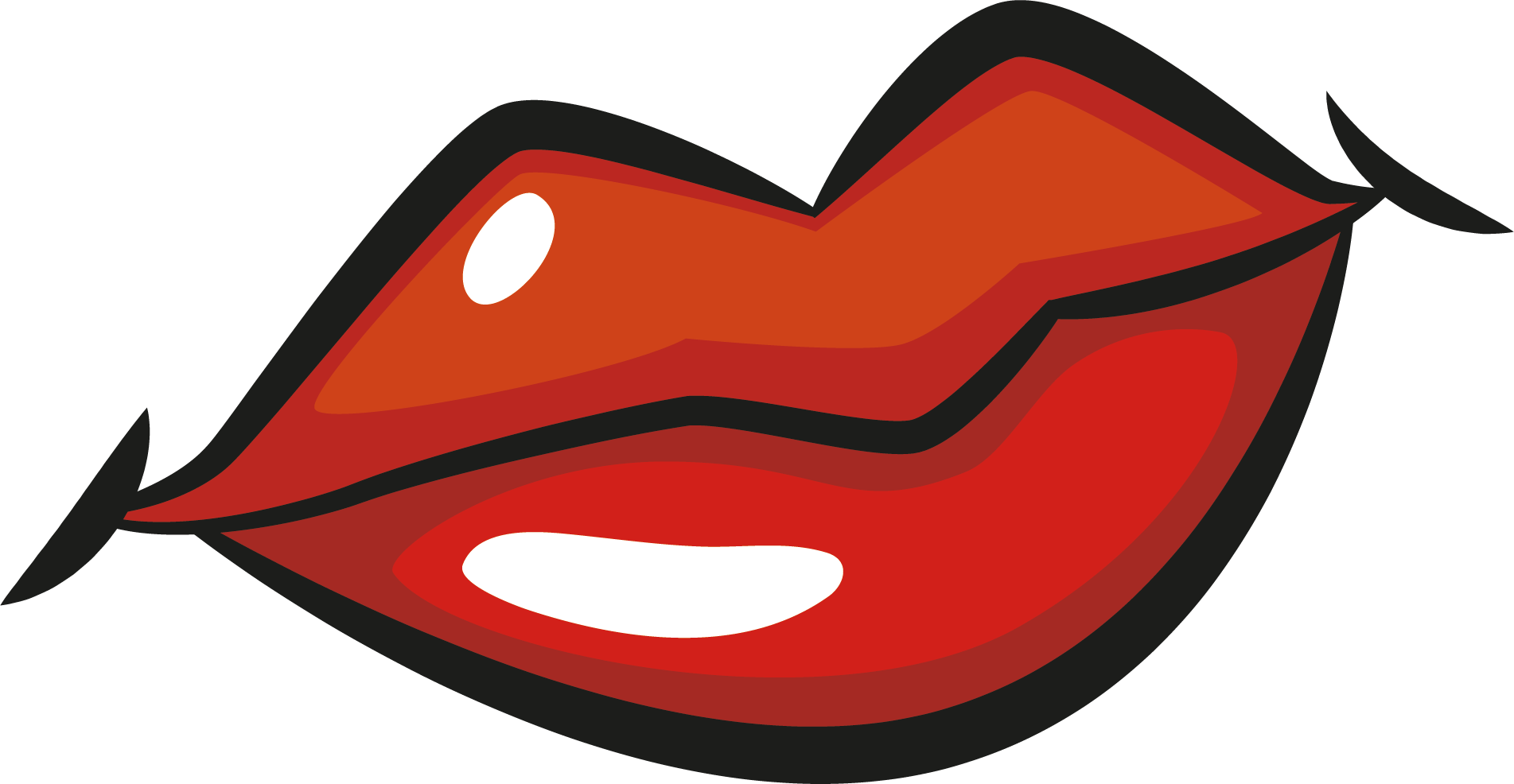 Drawing flannel lip. Cartoon clip art lips