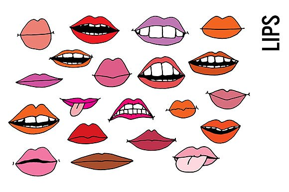 Mouth clipart different mouth. Lips doodle illustrations creative
