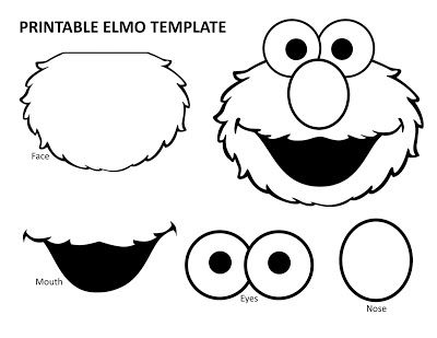 Mouth clipart elmo. Printable template birthday party