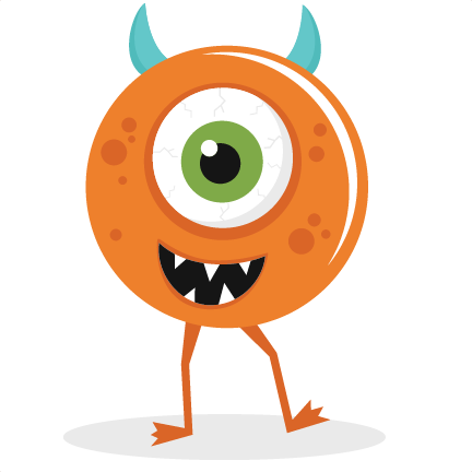 One eyed svg cut. Vector monster file banner library stock