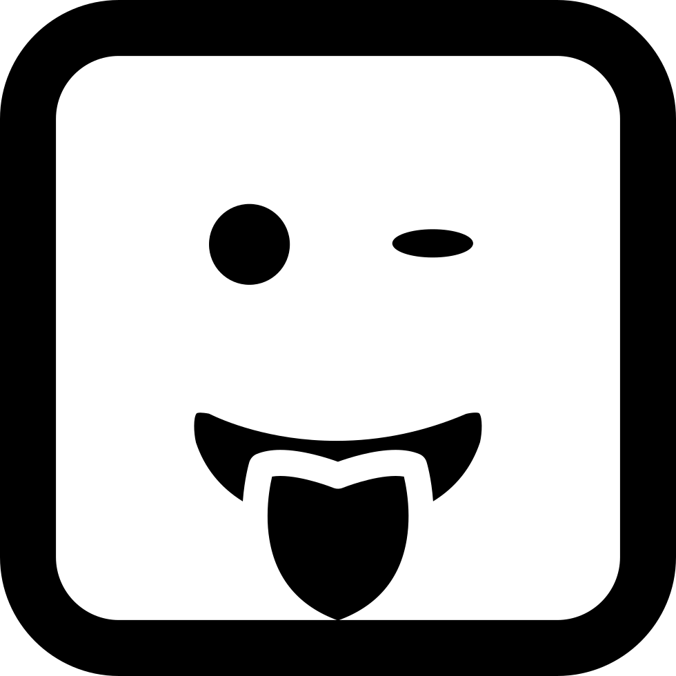 Mouth svg outline. Winking emoticon smiling face