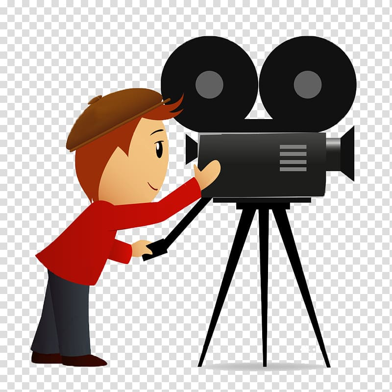 Movie cartoon. Camera operator film theatre